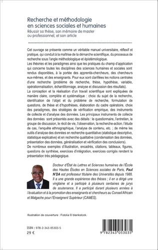 4eme Recherche et méthodologie en sciences sociales et humaines