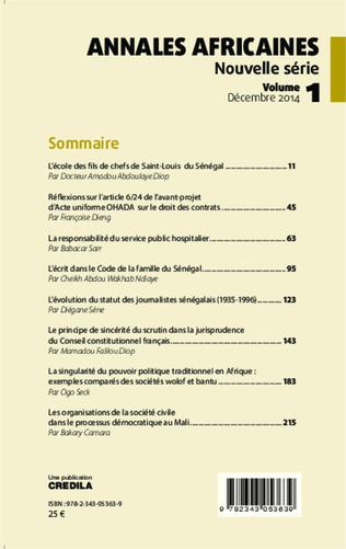 4eme Annales africaines vol 1 décembre 2014