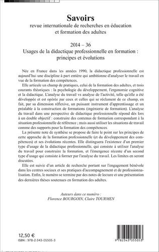 4eme Usages de la didactique professionnelle en formation : principes et évolutions