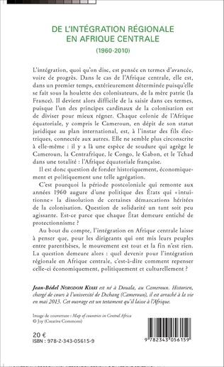 4eme De l'intégration régionale en Afrique centrale (1960-2010)