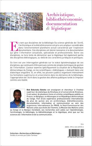 4eme Archivistique, bibliothéconomie, documentation et légistique