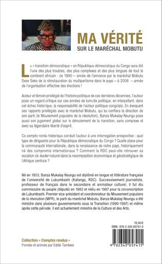 4eme Ma vérité sur le maréchal Mobutu et sur la transition démocratique au Zaïre (1990-1997)