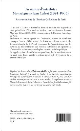4eme Un maître d'autrefois : Monseigneur Jean Calvet (1874-1965)