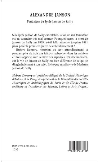 4eme Alexandre Janson. Fondateur du lycée Janson de Sailly