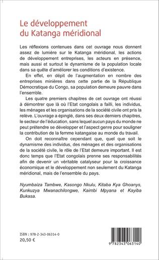 4eme Le développement du Katanga méridional