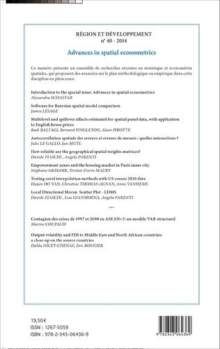 4eme Advances in spatial econometrics / Les avancées en économétrie spatiale