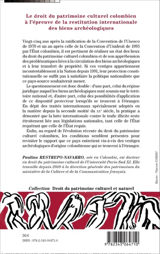 4eme Le droit du patrimoine culturel colombien à l'épreuve de la restitution internationale des biens archéologiques