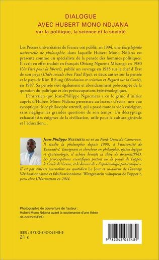 4eme Dialogue avec Hubert Mono Ndjana sur la politique, la science et la société
