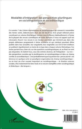 4eme Modalités d'intégration des perspectives plurilingues en sociolinguistique et sociodidactique (Varia)