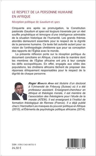 4eme Le respect de la personne humaine en Afrique
