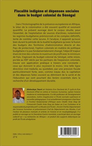 4eme Fiscalité indigène et dépenses sociales dans le budget colonial du Sénégal