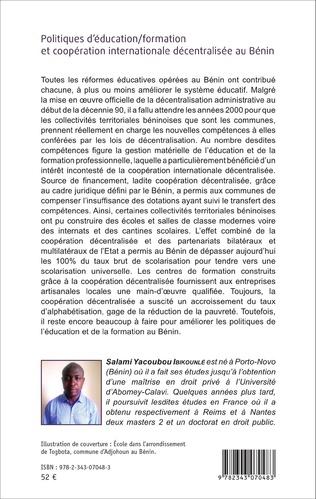 4eme Politiques d'éducation/formation et coopération internationale décentralisée au Bénin