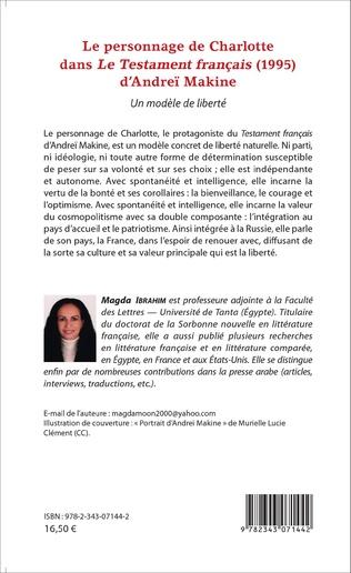 4eme Le personnage de Charlotte dans le testament français (1995) d'Andreï Makine