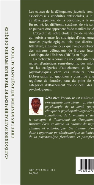 4eme Catégories d'attachement et troubles psychologiques chez les mineurs délinquants au Togo