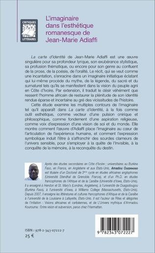 4eme L'imaginaire dans l'esthétique romanesque de Jean-Marie Adiaffi