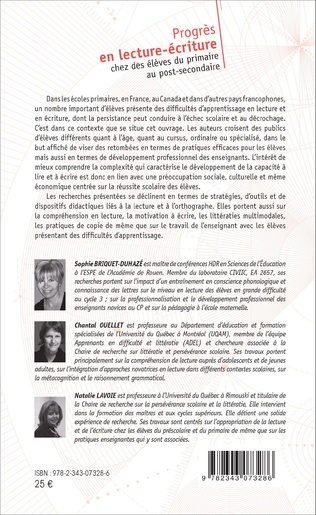 4eme CHAPITRE 8 : DÉVELOPPEMENT DE L'ORTHOGRAPHE CHEZ TROIS ÉLÈVES PRÉSENTANT UN TROUBLE DU SPECTRE DE L'AUTISME