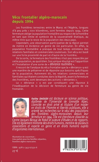 4eme Vécu frontalier algéro-marocain depuis 1994