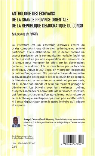 4eme Anthologie des écrivains de la grande province orientale de la République Démocratique du Congo