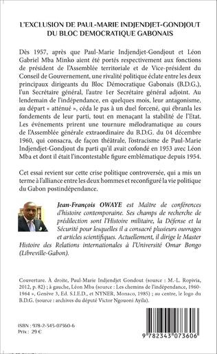 4eme L'exclusion de Paul-Marie Indjendjet-Gondjout du bloc démocratique gabonais