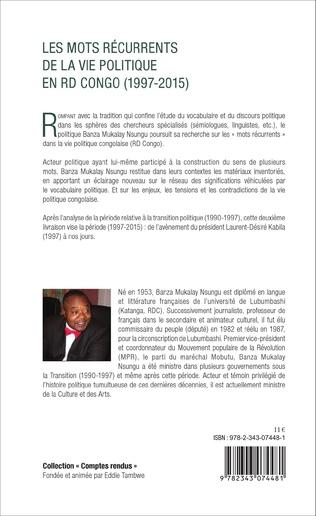 4eme Les mots récurrents de la vie politique en RD Congo