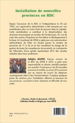 4eme Installation de nouvelles provinces en RDC (fascicule broché)