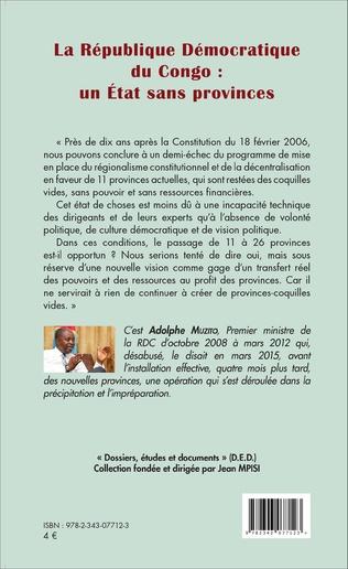 4eme La République Démocratique du Congo : un Etat sans provinces (fascicule broché)