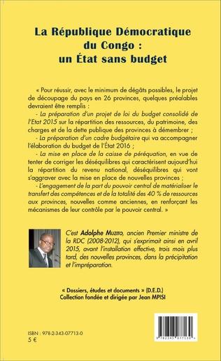 4eme La République Démocratique du Congo : un État sans budget (fascicule broché)