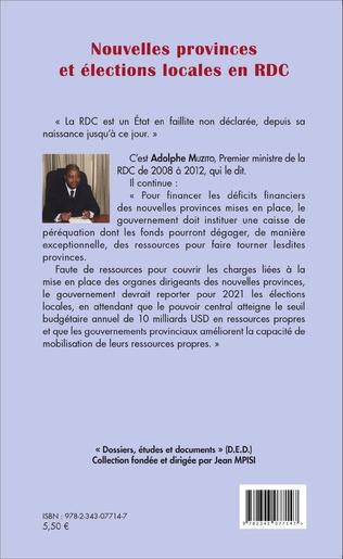 4eme Nouvelles provinces et élections locales en RDC (fascicule broché)