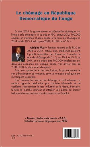 4eme Le chômage en République démocratique du Congo (fascicule broché)