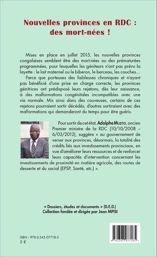 4eme Nouvelles provinces en RDC : des morts-nées ! (fascicule broché)