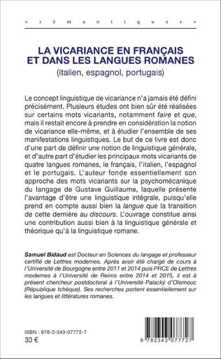 4eme La vicariance en français et dans les langues romanes (italien, espagnol, portugais)