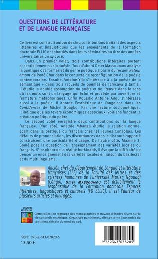 4eme Questions de littérature et de langue française