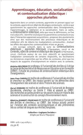 4eme Apprentissages, éducation, socialisation et contextualisation didactique : approches plurielles