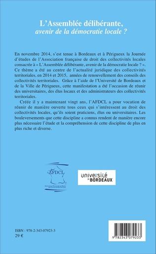 4eme L'assemblée délibérante, avenir de la démocratie locale ?