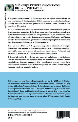 4eme Mémoires et représentations de la déportation dans l'Europe contemporaine