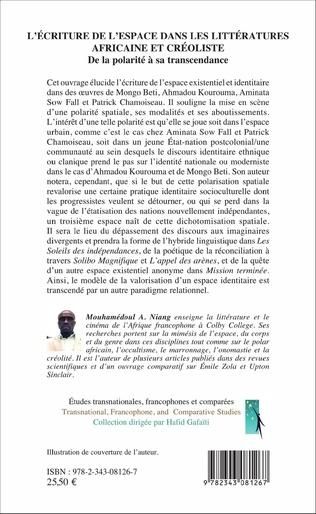 4eme L'écriture de l'espace dans les littératures africaine et créoliste