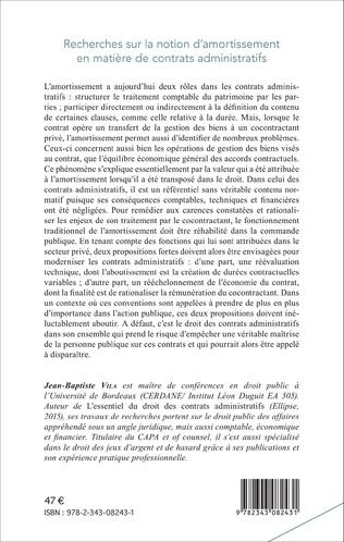 4eme Recherches sur la notion d'amortissement en matière de contrats administratifs