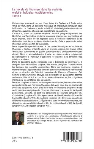 4eme La morale de l'honneur dans les sociétés wolof et halpulaar traditionnelles (Tome 1)