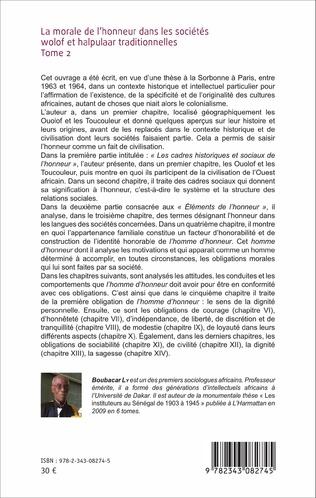 4eme La morale de l'honneur dans les sociétés wolof et halpulaar traditionnelles (Tome 2)