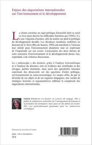 4eme Enjeux des négociations internationales sur l'environnement et le développement