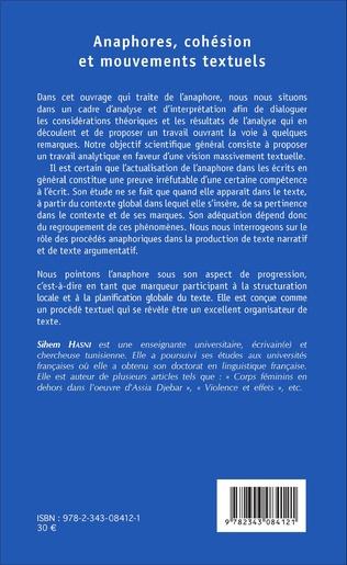 4eme Anaphores, cohésion et mouvements textuels