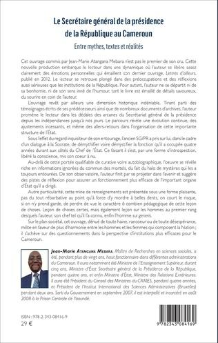 4eme Le Secrétaire général de la présidence de la République du Cameroun