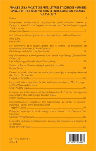 4eme Annales de la faculté des arts, lettres et sciences humaines Vol XVI - 2015