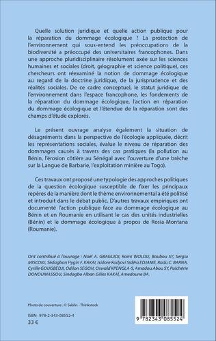 4eme La réparation du dommage écologique dans l'espace francophone