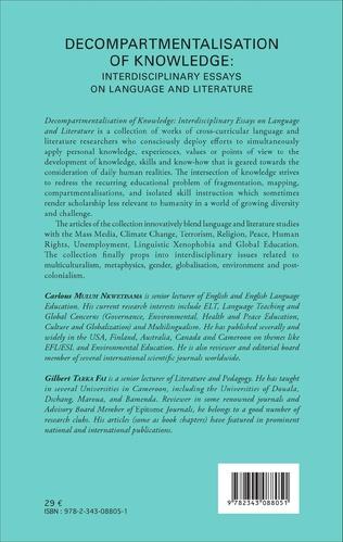 4eme Decompartmentalisation of knowledge: interdisciplinary essays on language and literature