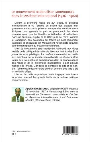 4eme Le mouvement nationaliste camerounais dans le système international (1916-1960)