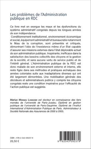 4eme Les problèmes de l'Administration publique en RDC