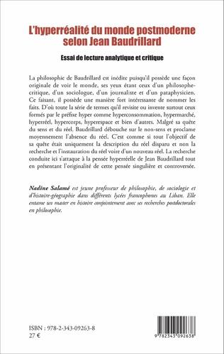 4eme L'hyperréalité du monde postmoderne selon Jean Baudrillard