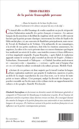 Trois Figures De La Poésie Francophile Persane Eslâmi E