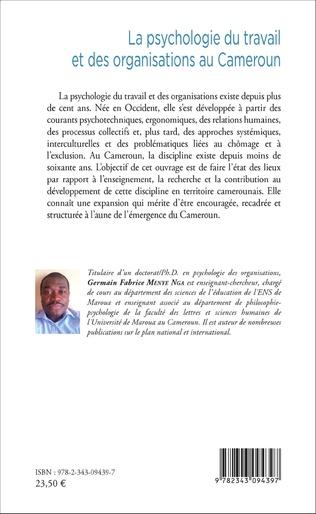 4eme La psychologie du travail et des organisations au Cameroun